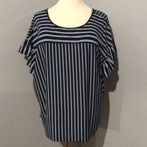 Navy White Striped Ruffle Sleeve Top